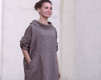 7f3108001adf French linen dress.Coffee color.