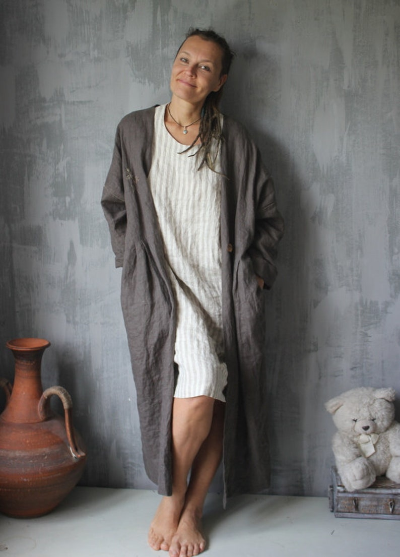 Linen boho coat.Coffee color.Embroidered coat.Linen cardigan.More color