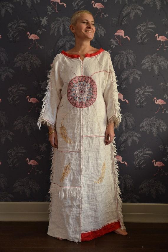Embroidered linen dress.White Winter sun. Linen boho designer dress.