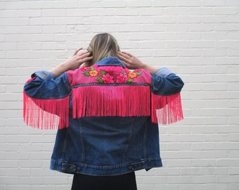 Embroidered Floral Hawaiian Tropical Oversized Vintage Denim Jacket | Handmade One Off Unique