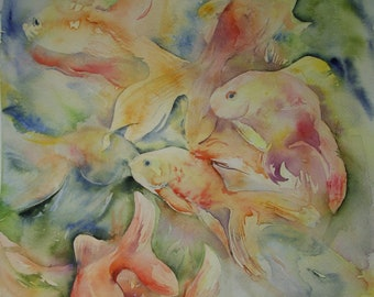 Gold Fish in Motion, Original Watercolor