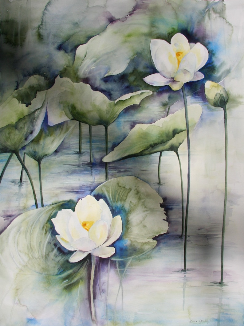 Lotus Flowers Nelumbo Lutea Original Watercolor Botanical Etsy