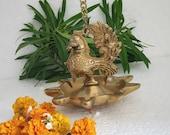 Trinetra Big Bird Oil Diya Lamp Wall Hanging Brass Candle Holder temple puja Decor - 15x15x50 cm.