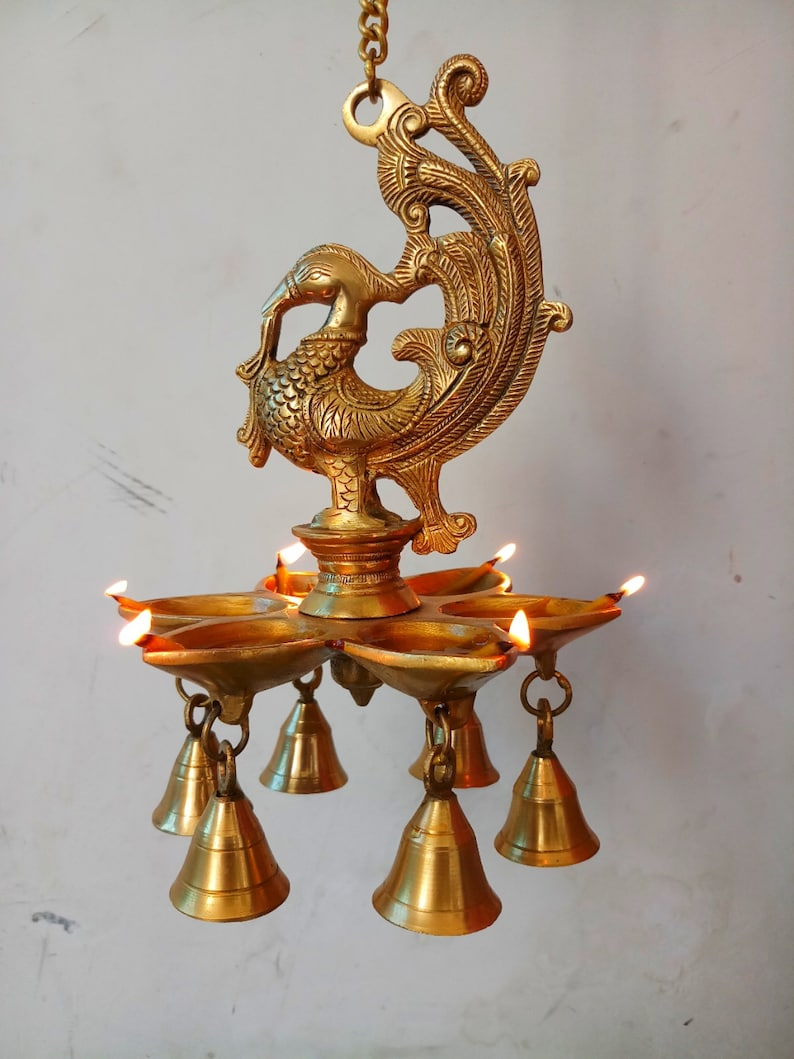 Trinetra Big Bird Oil Diya Lamp Wall Hanging Brass Candle Holder Temple Puja Decor 18x18x66