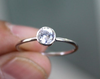 925 Solid Sterling Silver - Zircon Gemstone- Handmade Silver Ring - All Size 3-15