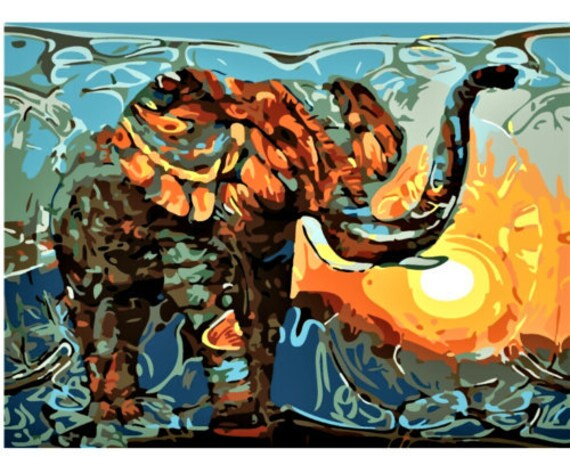 """Paint by Number Kit Elephant Abstract Art Photo DIY Digital Oil Painting 20/""""x16/"""""""