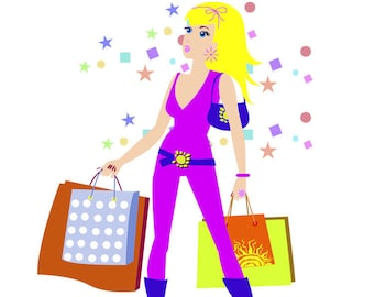 Clipart Shopping Girl Female Woman Fashion ai vector