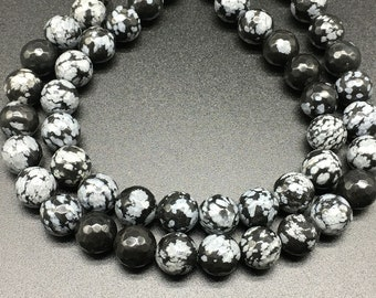 """Natural Snowflake Obsidian Beads 4mm 6mm 8mm 10mm 12mm 14mm Loose Gemstone Round 15"""" Full Strand Wholesale"""
