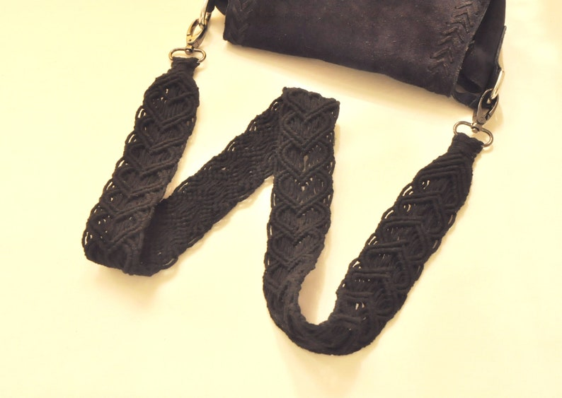 Macrame black purse strap Woven natural cotton rope bag strap Replacement boho shoulder strap Gifts with hearts