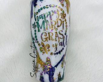 Happy Mardi Gras Y'all Custom Tumbler