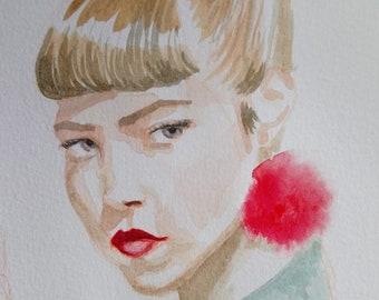 Custom watercolour portrait commission