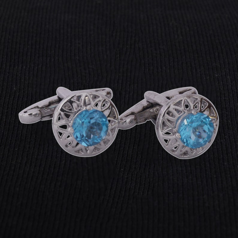 925 Sterling Silver Cuff lings Round Shape Gemstone Sky Blue Topaz Cuff-link Jewelry For Mens Jewelry Silver Cuff-links Gemstone Cuff-links