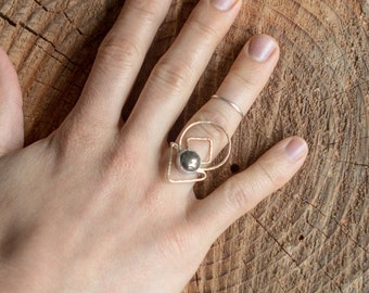 The Galaxy- Sterling silver and brass ring, with hematite stone- size 5 1/2