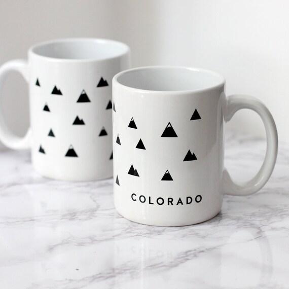 White Colorado Mug Modern Coffee Mug Mountain Mug Etsy