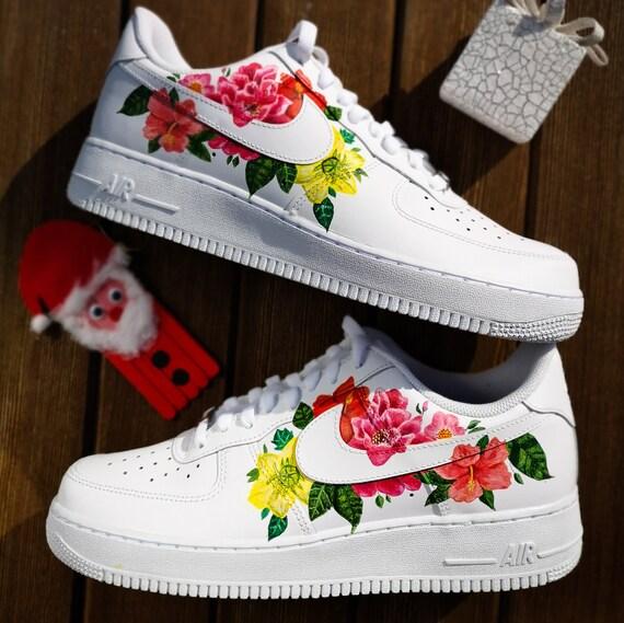 Personnalisés Nike Air Force 1 ''Fleur'' | Etsy