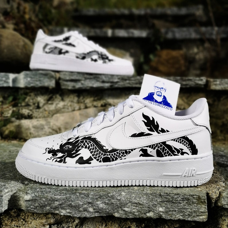 Personalizzate Nike Air Force 1 Drago nero   Etsy