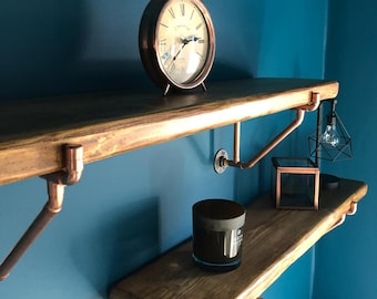 Pair Of Custom Made Braced Copper Pipe Shelf Brackets With Optional Rustic