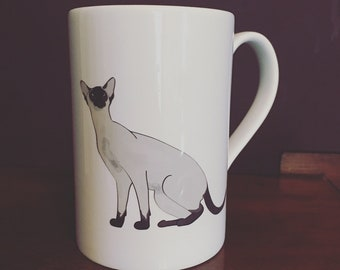 Illustrated Siamese Cat Porcelain Mug