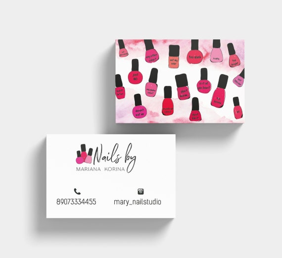 Nail salon business card business card nails nail business etsy image 0 flashek Images
