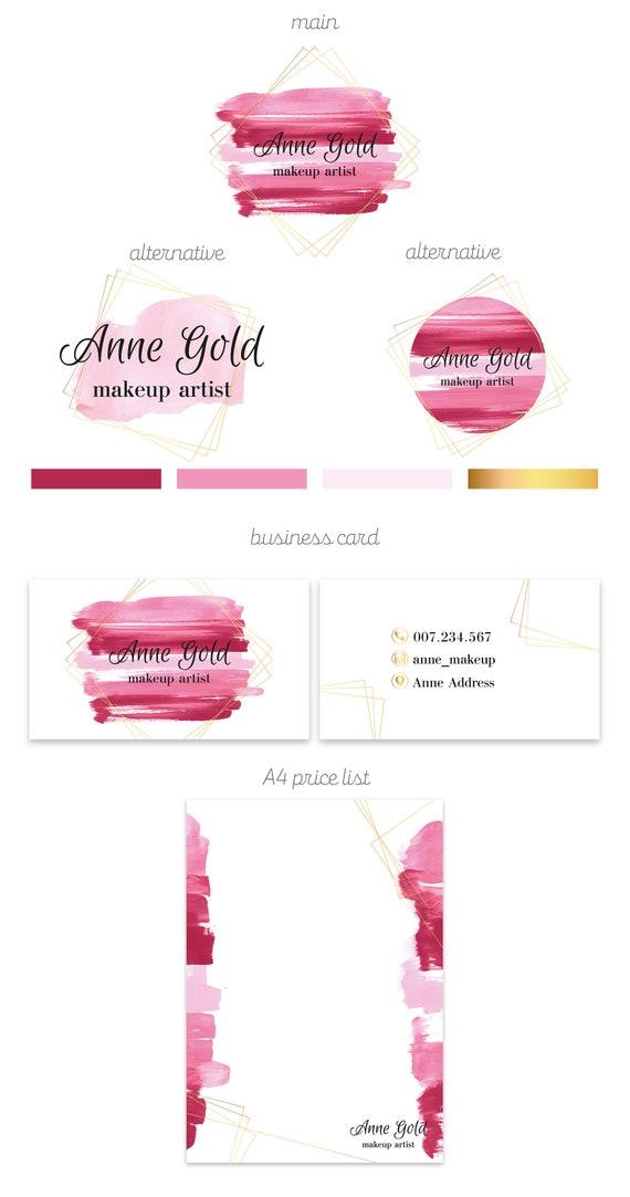 Maquillage Artiste Carte De Visite Cartes Or Rose