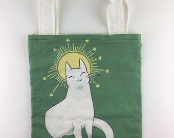 Cats Against Catcalls Tote Bag Funny Feminist Cat Giving Middle Finger Cat Bag Los Angeles Apparel Cotton Tote Bag