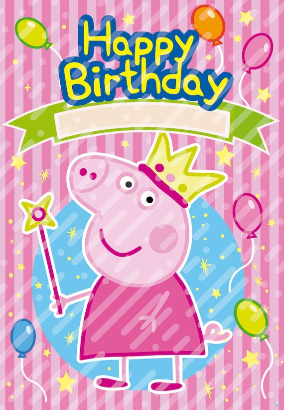 Affiche Peppa Pig Joyeux Anniversaire Peppa Pig Etsy