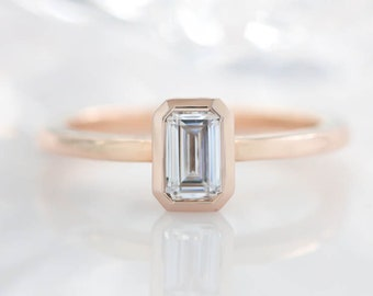 Emerald Cut Moissanite Engagement Ring Bezel Set Stone Thin Band - Esmeralda