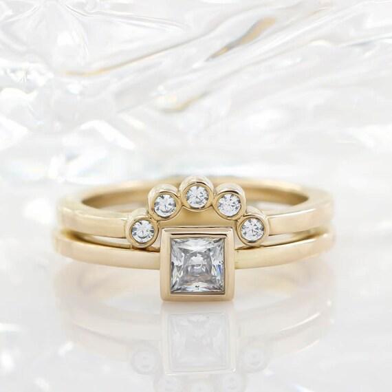 Princess Square Cut Diamond Engagement Ring Bezel Set Diamond Etsy