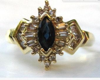 Deep blue sapphire ring 10k
