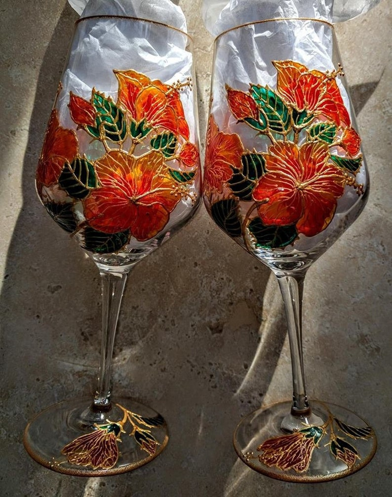 Sold Hibiscus Flowers Hand Painted Fine Chrystal Wine Etsy