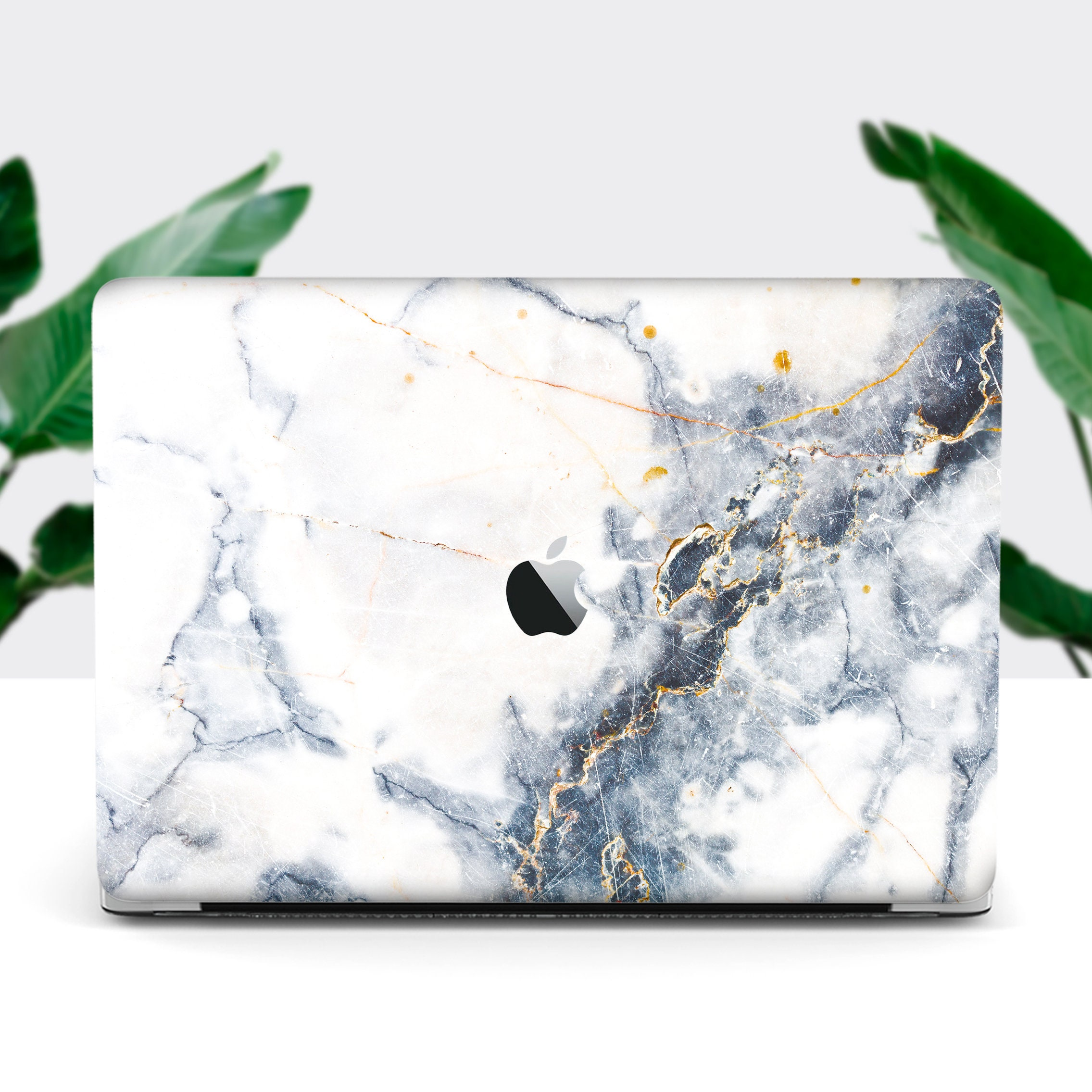Macbook Marble Case White Marble Design Blue Stone Macbook Air Etsy