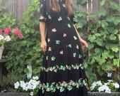 1970s Maxi Dress, HOPS Leaves, Long Dress, size Medium, size Large