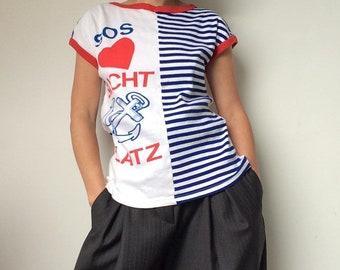df19fc02028b6f Vintage 1970s T-Shirt, HEART, ANCHOR, STRIPES, Striped T-Shirt, Marine T- Shirt, 70s T-Shirt