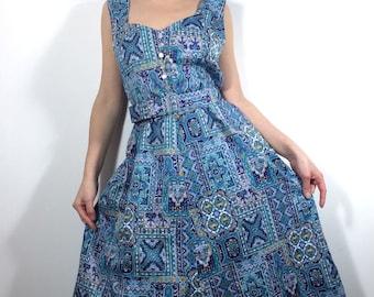 65a06a369517 1950s blue summer dress