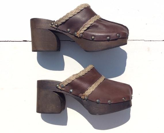 1970s Wooden Clogs, Size 38, Leather Platform Shoe