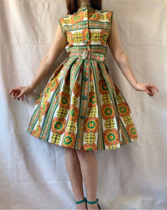 1950s Sundress, Midcentury Cotton Summer Dress