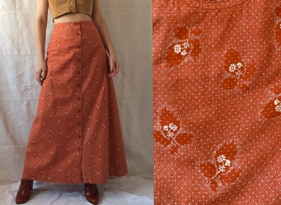 1970s Cotton CACHAREL Skirt, Summer Hippie Skirt
