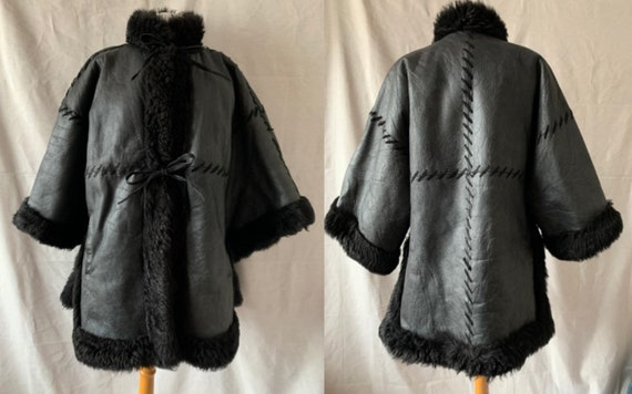 1980s CHRISTIAN DIOR Black Sheepskin Coat, Vintage