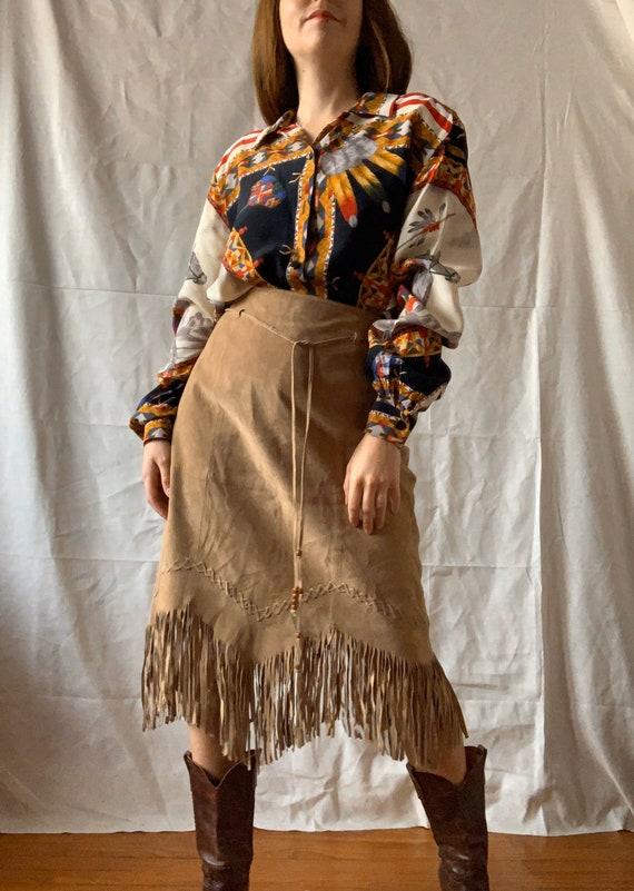 Vintage Suede Skirt with Fringe, RENE DERHY