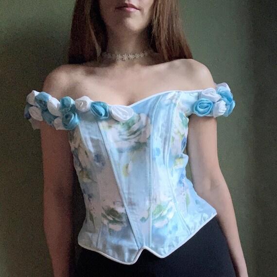1990s Off Shoulder Corset Top, Floral Corset, Butt