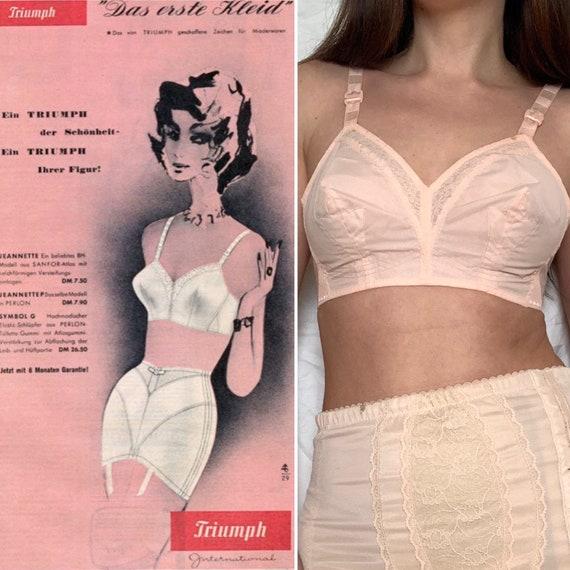 1950s TRIUMPH Bullet Bra, Vintage Peach Bra, Size