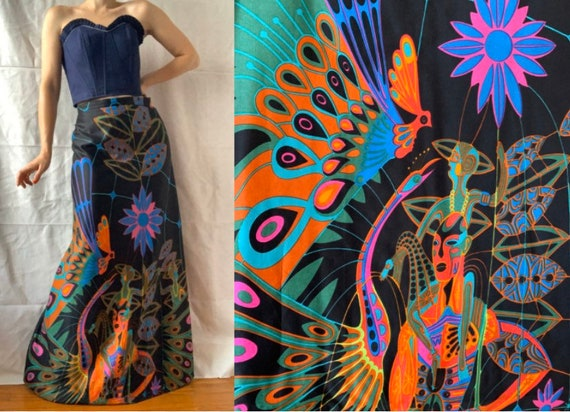 Rare 1970s Maxi Skirt with Sci-Fi Print, Psychedel