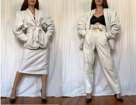 1980s Three Piece LEATHER SET, White Leather Pants