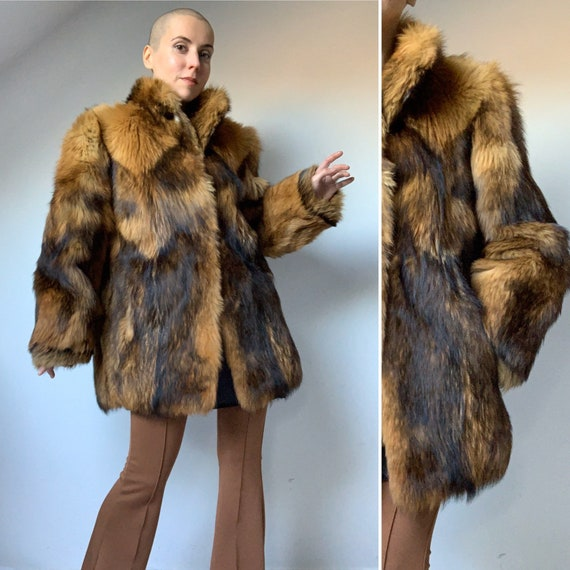 1970s Raccoon Fur Coat, Patchwork Fur Coat, Hippie