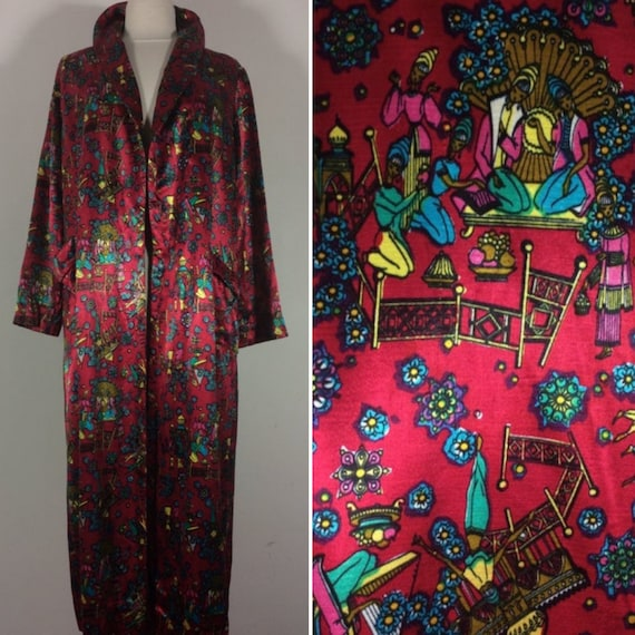 1940s 1950s Evening Robe, NOVELTY PRINT, Satin Ori