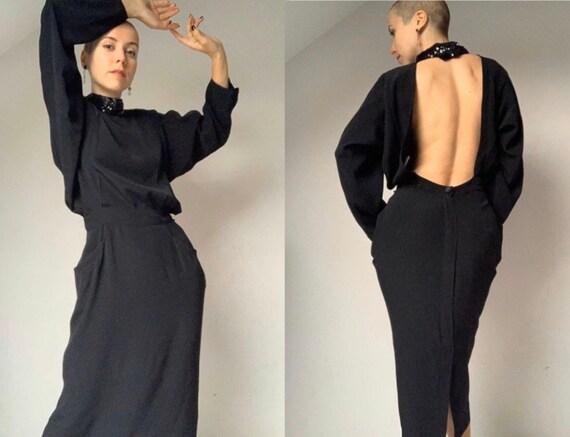1990s Open Back Dress BLACKY DRESS Vintage Wiggle