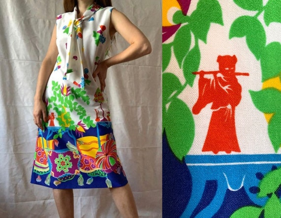 1970s Novelty Print Dress, Colorful Dress