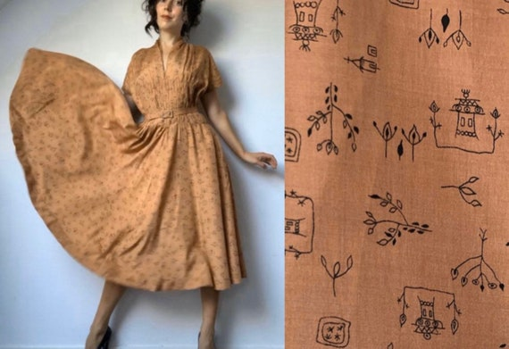 1930s Silk Dress, Antique Dress, Size Medium