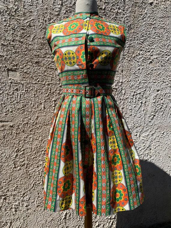 1950s Sundress, Midcentury Cotton Summer Dress - image 3