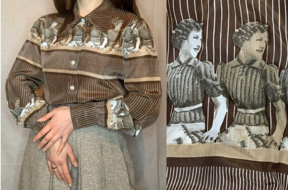 1970s Blouse with Novelty Print, Vintage Blouse